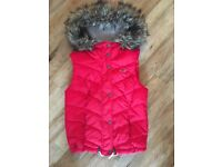 Red Hollister Gilet with Fur trimmed hood size XS