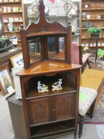 VINTAGE ORNATE MIRROR BACKED CORNER CABINET. VERY ATTRACTIVE. VIEWING/DELIVERY AVAILABLE