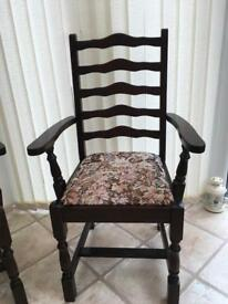 DARK WOOD CARVER DINING CHAIR ANTIQUE STLE WITH CUSHIONED TAPESTRY STYLE SEAT