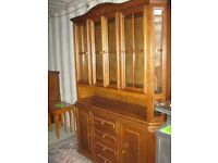 ORNATE OAK STURDY DRESSER SIDEBOARD CABINET. TOP DETACHABLE. VIEWING/DELIVERY AVAILABLE
