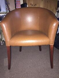 Tan leather tub chairs x2 and stool