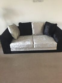 3 and 2 seater sofas black and silver crushed velvet brand new