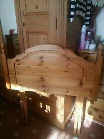 Antiqe Solid pine Single bed headboard