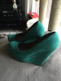 Green wedge heels size 6