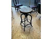Wooden topped metal framed bar stool