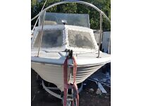 17 ft teal fishing day boat