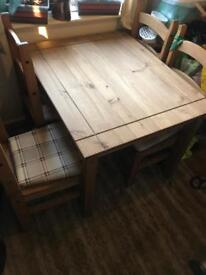 Solid Mexican Pine small 4 person table