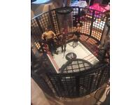 Wrestling figures elimination chamber and collapsible ring