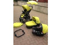 Grace Evo 3 in 1 Lime green rain cover foot muff and parasol,, excellent condition