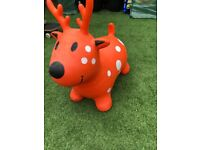 """Reindeer 'Happy"""" Hopper Ride on inflatable Toy"""