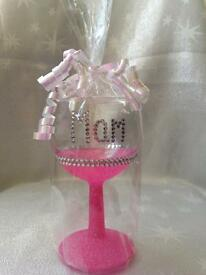 Personalised Small Glittered Wine Glasses