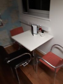 5 cafe tables white tops chrome base, excellent condition