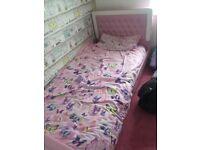 Pink leather diamanté single bed