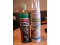 Ferret and Rat Shampoo and small pet Waterless Shampoo. Both unused.