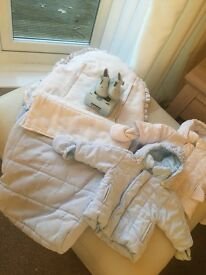 Cradle Care Buggy Liner With Cosy-Toes + 2 Cradle Care Jackets 1 Blue 1 White Age 3 months