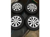 "Volkswagen Golf mk6 15"" alloy wheels with great tyres 5x112 taken from 2012 bluemotion model"