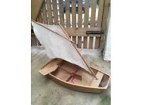 Handmade wooden sailing boat