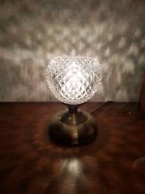 PAIR OF VINTAGE STYLE BRASS CRYSTAL GLASS T0UCH LAMPS..