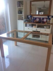Beach and glass dining table. Originally from Next. 150cm x 90cm