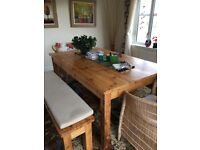 Dining Table + Bench Seating - Custom Made Rustic Wooden (180cm x 110cm x 78cm)