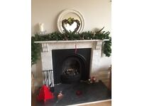 Marble fire surround, insert and hearth