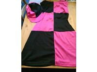 60's pink and black retro costume size 14-16
