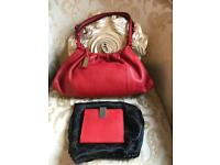Gucci Small Red Leather Bag & Wallet