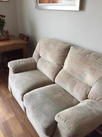 2 seater material recliner sofa
