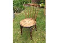 Antique chair, spindle back with turned details to legs Skinner and Squire Ltd of Ilfracombe label.