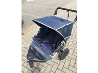 Out n about nipper double buggy in blue