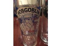 Hobgoblin blue and gold bitter glasses