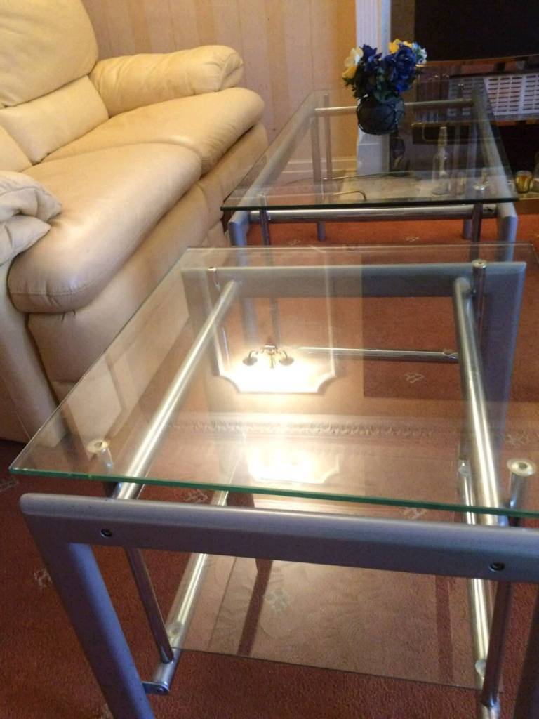 Coffee table in ashington northumberland other dining living clear glass 2 piece coffee table geotapseo Gallery