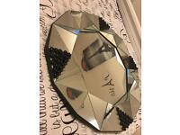 Diamond shape mirror with beads