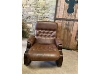 Tan Leather Danish Bentwood Lounge Chair