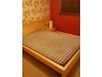 IKEA Double bed, joines side tables and Mattress