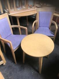 2 Lilac Chairs & Coffee Table