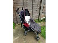 MacLaren Quest red & black with footmuff from Mamas & Papas