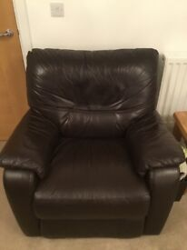 Brown leather 3 piece suite, vgc