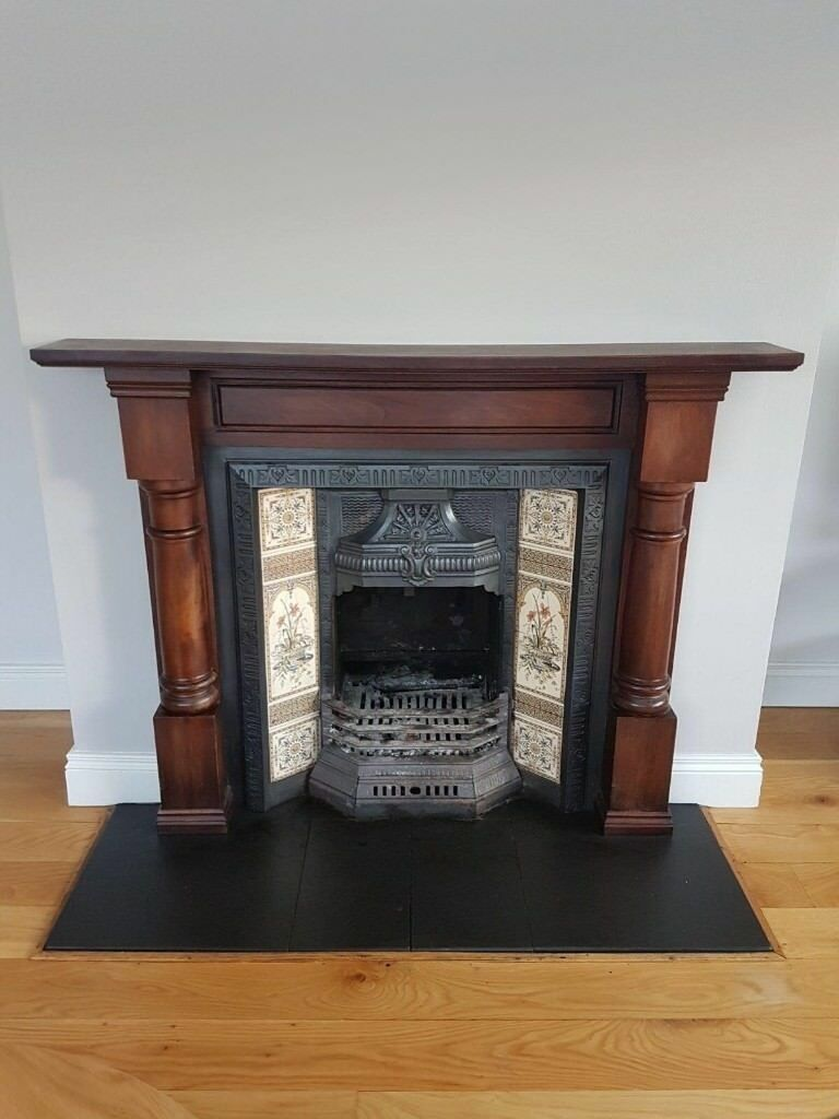 Victorian Antique Fireplace And Mahogany Fire Surround For