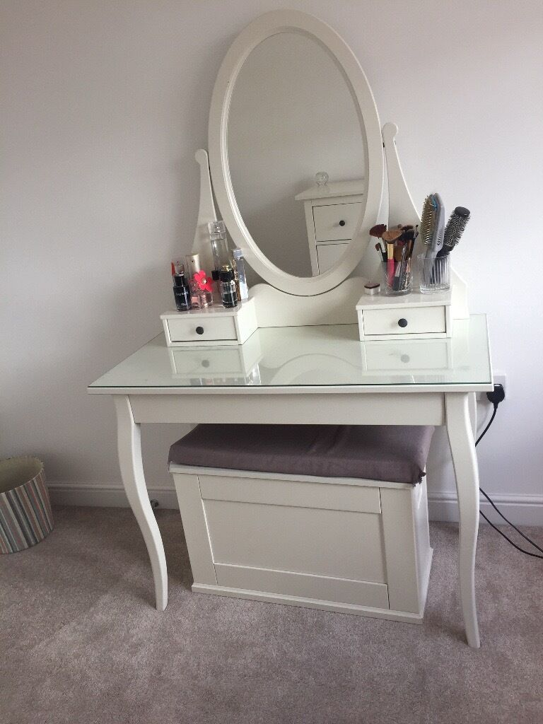 Mirrored Vanity Table And Stool: IKEA HEMNES White Dressing Table With Mirror And Storage