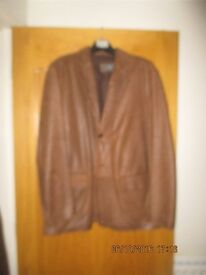 MARKS AND SPENCER GENTS BROWN LEATHER JACKET