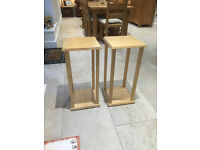 TWO SOLID WOODEN TALL SMALL TABLES / PLANT STANDS / BEDSIDE UNITS