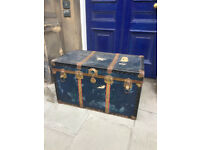 Vintage Metal Storage Trunk - free local delivery- Clean inside size W 36 in D 20 in H 22 in