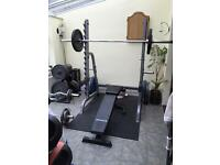 Squat rack bar plate weights and bench