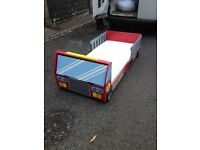 Kiddies first bed, fire engine design, mattress, pillow and quilt + lots of extras