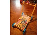Wooden alphabet brick trolley baby walker