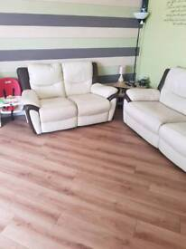 Leather 3 + 2 seater electric recliners