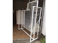 WHITE DISPLAY STAND ON WHEELS FOR SHOP RETAIL JEWELLERY ETC