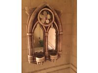Decorative church/gothic mirror with candle holders