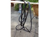 Horse bridle black with bit and reins good condition